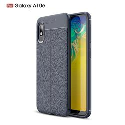 Luxury Auto Focus Litchi Texture Silicone TPU Back Cover for Samsung Galaxy A10e - Dark Blue