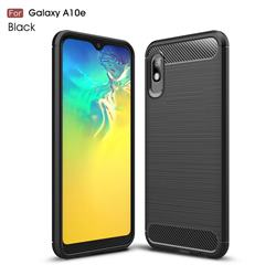 Luxury Carbon Fiber Brushed Wire Drawing Silicone TPU Back Cover for Samsung Galaxy A10e - Black