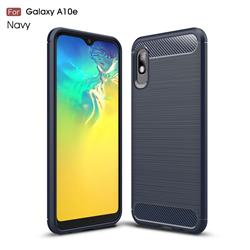 Luxury Carbon Fiber Brushed Wire Drawing Silicone TPU Back Cover for Samsung Galaxy A10e - Navy