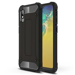 King Kong Armor Premium Shockproof Dual Layer Rugged Hard Cover for Samsung Galaxy A10e - Black Gold