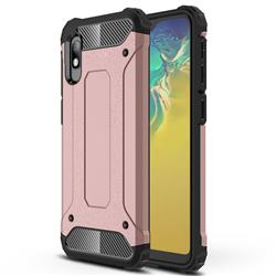 King Kong Armor Premium Shockproof Dual Layer Rugged Hard Cover for Samsung Galaxy A10e - Rose Gold
