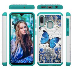 Flower Butterfly Studded Rhinestone Bling Diamond Shock Absorbing Hybrid Defender Rugged Phone Case Cover for Samsung Galaxy A10e
