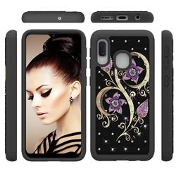 Peacock Flower Studded Rhinestone Bling Diamond Shock Absorbing Hybrid Defender Rugged Phone Case Cover for Samsung Galaxy A10e