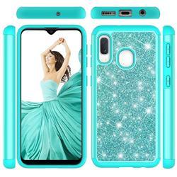 Glitter Rhinestone Bling Shock Absorbing Hybrid Defender Rugged Phone Case Cover for Samsung Galaxy A10e - Green