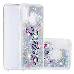Smile Flower Dynamic Liquid Glitter Quicksand Soft TPU Case for Samsung Galaxy A10e