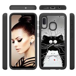 Black and White Cat Shock Absorbing Hybrid Defender Rugged Phone Case Cover for Samsung Galaxy A10e