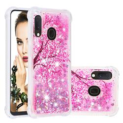 Pink Cherry Blossom Dynamic Liquid Glitter Sand Quicksand Star TPU Case for Samsung Galaxy A10e