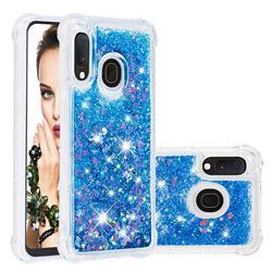 Dynamic Liquid Glitter Sand Quicksand TPU Case for Samsung Galaxy A10e - Blue Love Heart