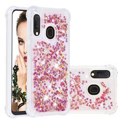 Dynamic Liquid Glitter Sand Quicksand TPU Case for Samsung Galaxy A10e - Rose Gold Love Heart