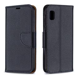 Classic Luxury Litchi Leather Phone Wallet Case for Samsung Galaxy A10e - Black