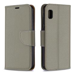 Classic Luxury Litchi Leather Phone Wallet Case for Samsung Galaxy A10e - Gray