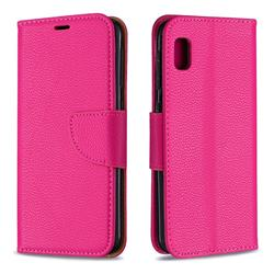 Classic Luxury Litchi Leather Phone Wallet Case for Samsung Galaxy A10e - Rose