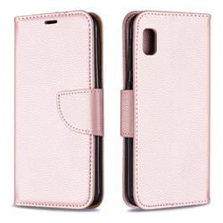 Classic Luxury Litchi Leather Phone Wallet Case for Samsung Galaxy A10e - Golden