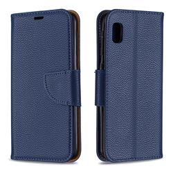 Classic Luxury Litchi Leather Phone Wallet Case for Samsung Galaxy A10e - Blue