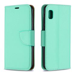 Classic Luxury Litchi Leather Phone Wallet Case for Samsung Galaxy A10e - Green