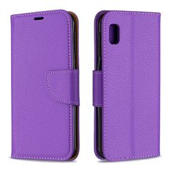 Classic Luxury Litchi Leather Phone Wallet Case for Samsung Galaxy A10e - Purple