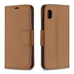 Classic Luxury Litchi Leather Phone Wallet Case for Samsung Galaxy A10e - Brown