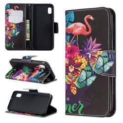 Flowers Flamingos Leather Wallet Case for Samsung Galaxy A10e