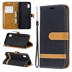 Jeans Cowboy Denim Leather Wallet Case for Samsung Galaxy A10e - Black
