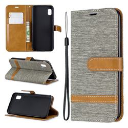 Jeans Cowboy Denim Leather Wallet Case for Samsung Galaxy A10e - Gray
