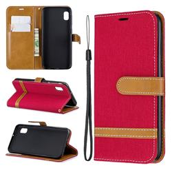 Jeans Cowboy Denim Leather Wallet Case for Samsung Galaxy A10e - Red
