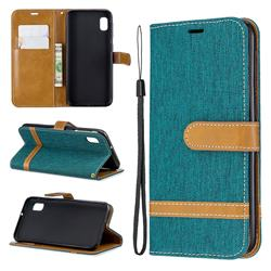 Jeans Cowboy Denim Leather Wallet Case for Samsung Galaxy A10e - Green