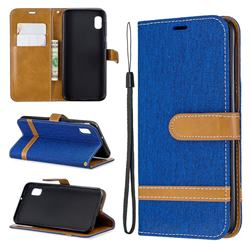 Jeans Cowboy Denim Leather Wallet Case for Samsung Galaxy A10e - Sapphire