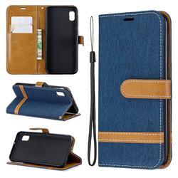 Jeans Cowboy Denim Leather Wallet Case for Samsung Galaxy A10e - Dark Blue