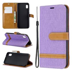 Jeans Cowboy Denim Leather Wallet Case for Samsung Galaxy A10e - Purple