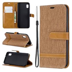 Jeans Cowboy Denim Leather Wallet Case for Samsung Galaxy A10e - Brown