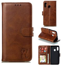 Embossing Happy Cat Leather Wallet Case for Samsung Galaxy A10e - Brown