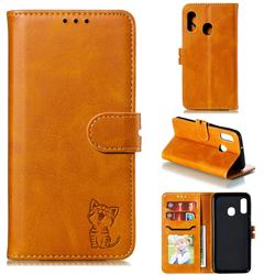 Embossing Happy Cat Leather Wallet Case for Samsung Galaxy A10e - Yellow