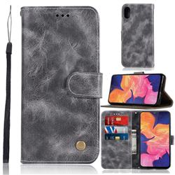 Luxury Retro Leather Wallet Case for Samsung Galaxy A10e - Gray