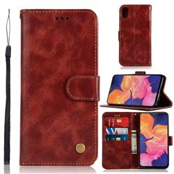 Luxury Retro Leather Wallet Case for Samsung Galaxy A10e - Wine Red