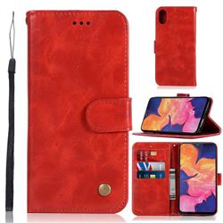 Luxury Retro Leather Wallet Case for Samsung Galaxy A10e - Red