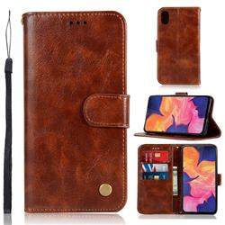 Luxury Retro Leather Wallet Case for Samsung Galaxy A10e - Brown