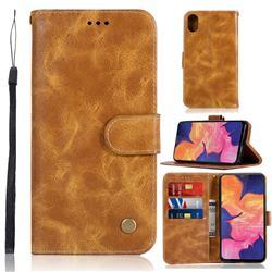 Luxury Retro Leather Wallet Case for Samsung Galaxy A10e - Golden