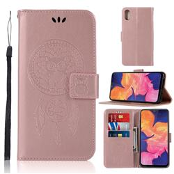 Intricate Embossing Owl Campanula Leather Wallet Case for Samsung Galaxy A10e - Rose Gold