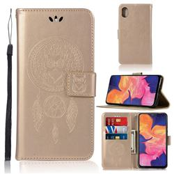 Intricate Embossing Owl Campanula Leather Wallet Case for Samsung Galaxy A10e - Champagne