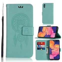 Intricate Embossing Owl Campanula Leather Wallet Case for Samsung Galaxy A10e - Green
