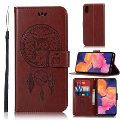 Intricate Embossing Owl Campanula Leather Wallet Case for Samsung Galaxy A10e - Brown