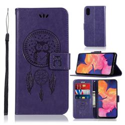 Intricate Embossing Owl Campanula Leather Wallet Case for Samsung Galaxy A10e - Purple