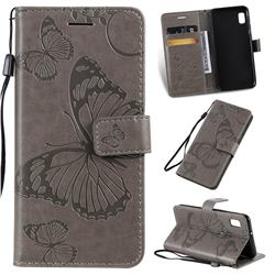 Embossing 3D Butterfly Leather Wallet Case for Samsung Galaxy A10e - Gray
