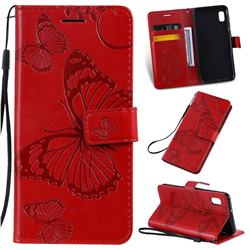 Embossing 3D Butterfly Leather Wallet Case for Samsung Galaxy A10e - Red
