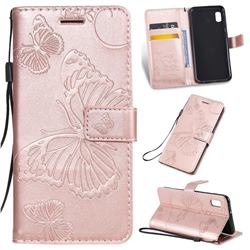 Embossing 3D Butterfly Leather Wallet Case for Samsung Galaxy A10e - Rose Gold