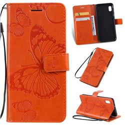 Embossing 3D Butterfly Leather Wallet Case for Samsung Galaxy A10e - Orange