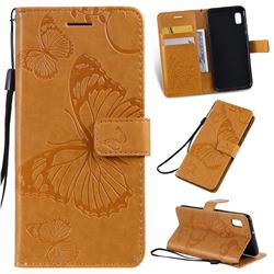 Embossing 3D Butterfly Leather Wallet Case for Samsung Galaxy A10e - Yellow