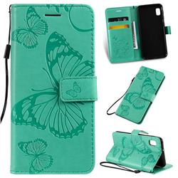 Embossing 3D Butterfly Leather Wallet Case for Samsung Galaxy A10e - Green