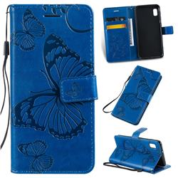 Embossing 3D Butterfly Leather Wallet Case for Samsung Galaxy A10e - Blue