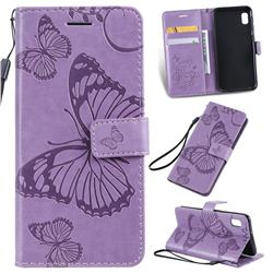 Embossing 3D Butterfly Leather Wallet Case for Samsung Galaxy A10e - Purple